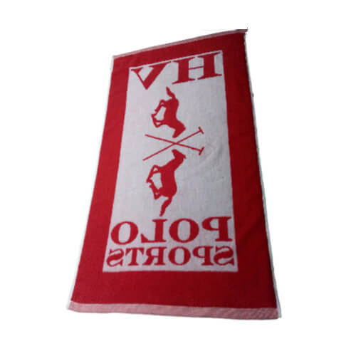 back side of jacquard cotton hand towel in white and red