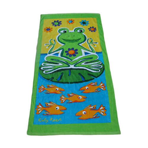 cotton velour beach towel with frog and fish printing