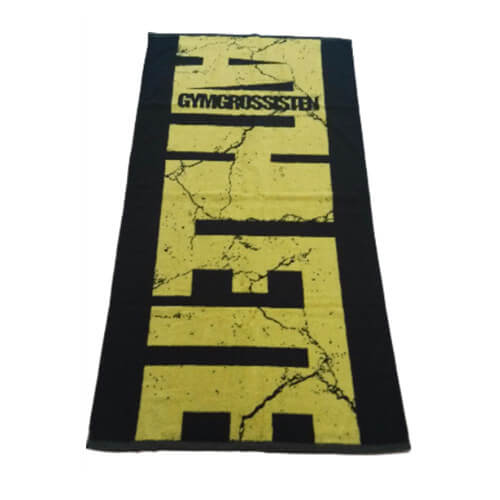 front view of jacquard bath towel in black and yellow