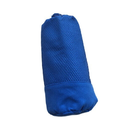 blue microfiber travel towel in a mesh carry bag