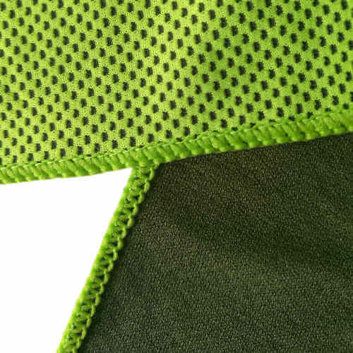 closeup of green cooling towel