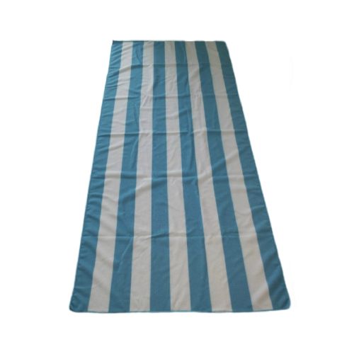 blue stripes printed on microfiber beach towel