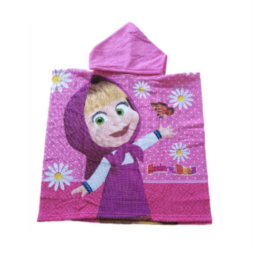 front view of girls pink poncho towel