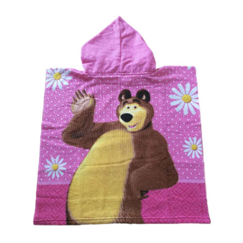 back view of girls pink poncho towel