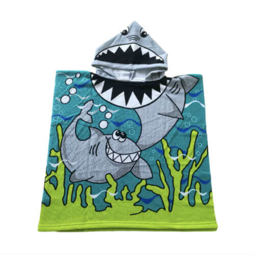 front side of kids microfiber poncho towel