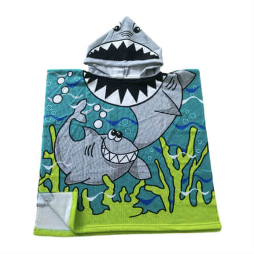front view of kids shark poncho towel